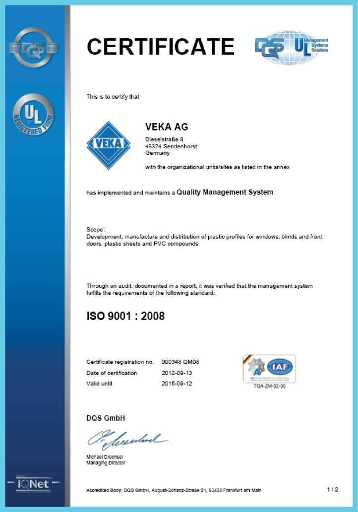 Сертификат VEKA AG - Quality managment System